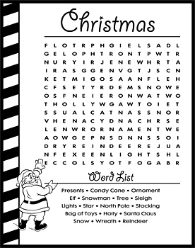 Word scramble puzzle with Christmas theme