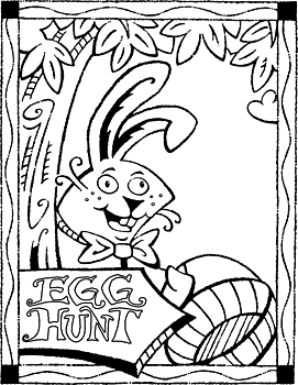 Easter bunny with sign for egg hunt