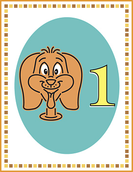 Head of dog and number one on flash card