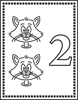 Heads of two cats and number two on flash card