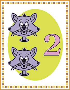 Two cats and number two on flash card