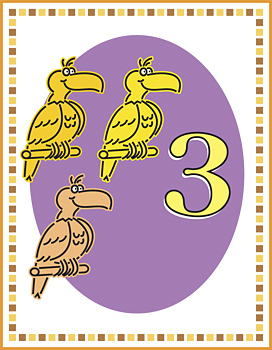 Flash card with three birds and number three