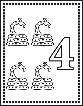 Flash card with four snakes and number four