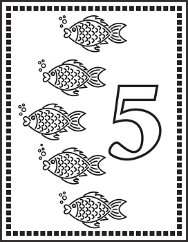 Flash card with five fishes and number five