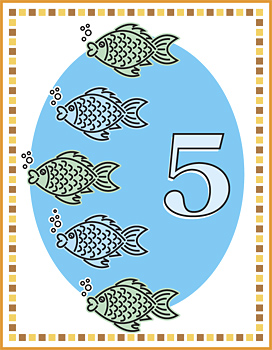 Flash card with five fish  and number five