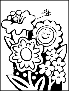 Coloring page with spring flowers