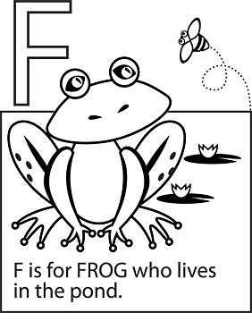 Alphabet coloring page with frog