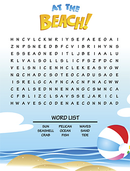 Word scramble puzzle with beach theme