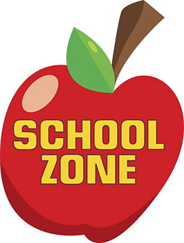 Red apple with school zone