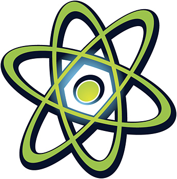 Atom with electrons orbiting nucleus