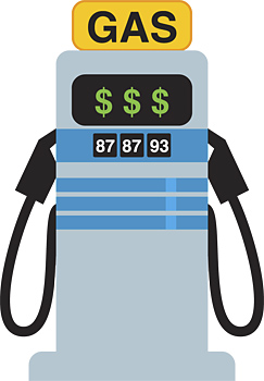 Gas pump with dollar signs