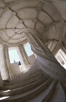 Fisheye view of spiral staircase