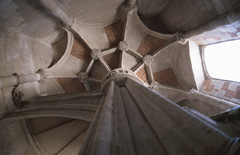 Low angle view of an interior pillar