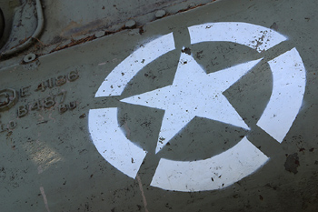 Close-up of star on tank