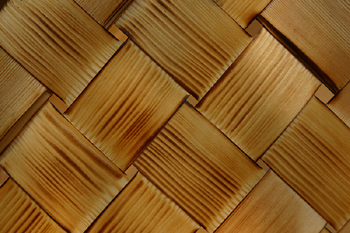 Close-up of overlapping pattern of basket