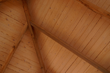 Wooden pitch ceiling