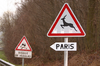 French traffic signs along road