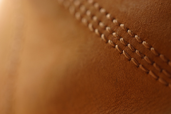 Stitches in leather