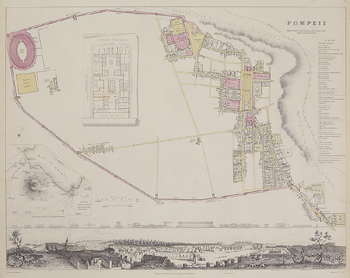 Antique map of ancient city of Pompeii in Italy
