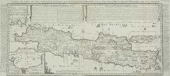Antique map of the island of Java in Indonesia