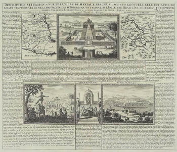 Antique engraving depicting parts of Mexico with vignettes