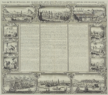 Ornate engraving depicting cities and culture in Africa