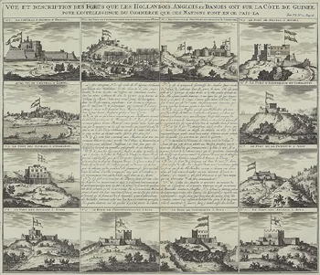 Antique engraving depicting forts in western Africa