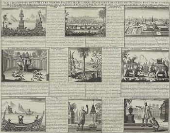 Antique engraving depicting cultures of Siam, present day Thailand