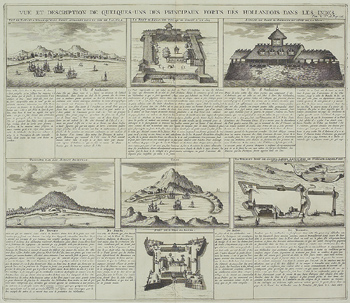 Antique engraving depicting forts of Holland in West Indies