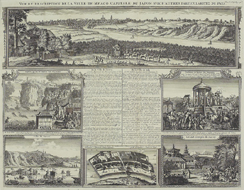 Antique engraving depicting culture and landscapes of Japan