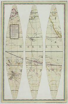 Antique map of Pacific Ocean in three sections
