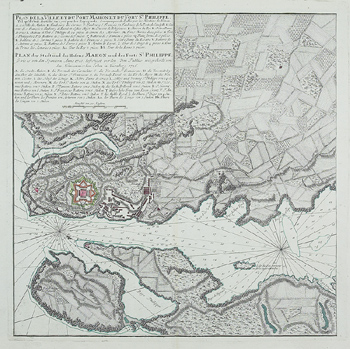Antique map of plans for Fort of St. Philippe and port of Mahon in Spain