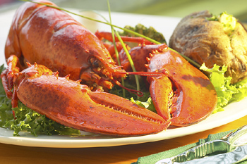 Lobster with baked potato