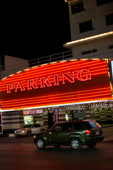 Parking sign in front of hotel, Las Vegas, Nevada