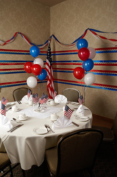 Patriotic table decorated in ballroom