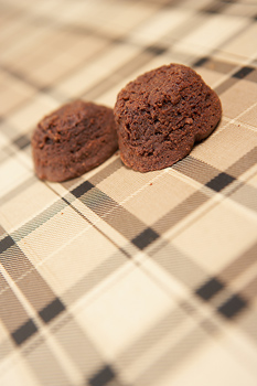 Bran muffins on tablecloth