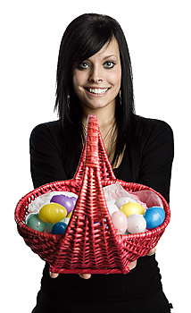 Woman posing with Easter basket