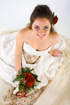 High angle view portrait of wedding bride