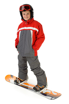 Boy posing as a snowboarder
