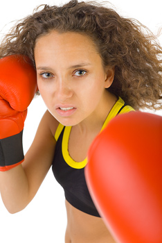 Portrait of woman boxer