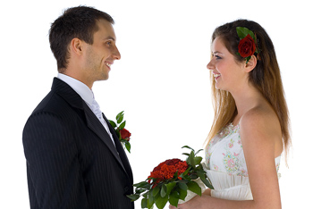 Wedding bride and groom standing face to face
