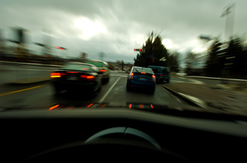 Motion blur of cars driving on highway