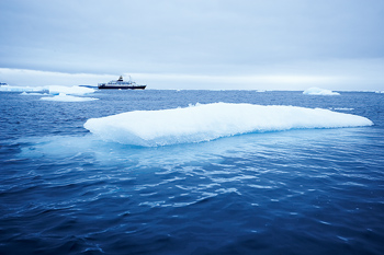 Cruise ship with ice floes in the Arctic
