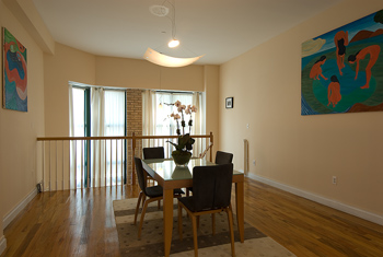 Dining room table in home