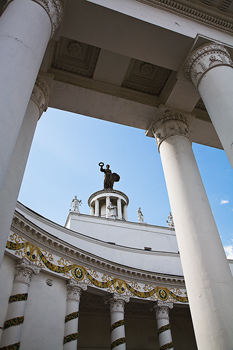 Classical columns on building, Moscow, Russia