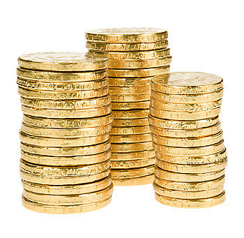 Three stacks of replica gold coins