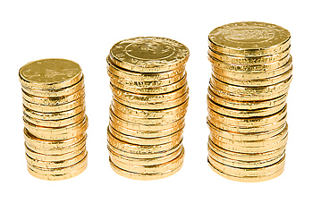 Three stacks of gold replica coins