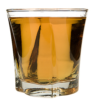 Shot glass with whiskey