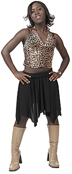Woman posing in leopard print halter top and boots