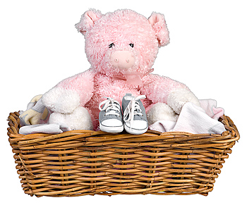 Baby shoes and teddy bear in basket